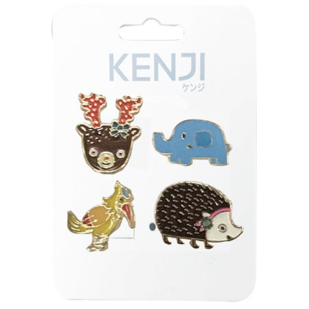 Metal Pin Badge 4pcs - Hedgehog
