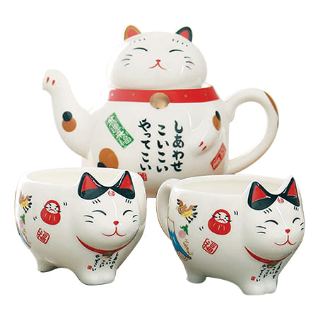 Himeji Cat Tea Pot Set - Red