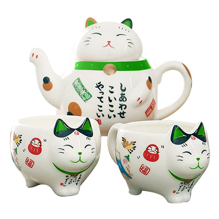 Himeji Cat Tea Pot Set - Green
