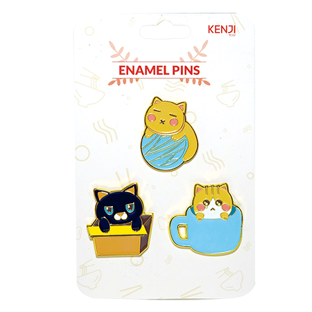 Metal Pin Badge 3pcs - Cat Things
