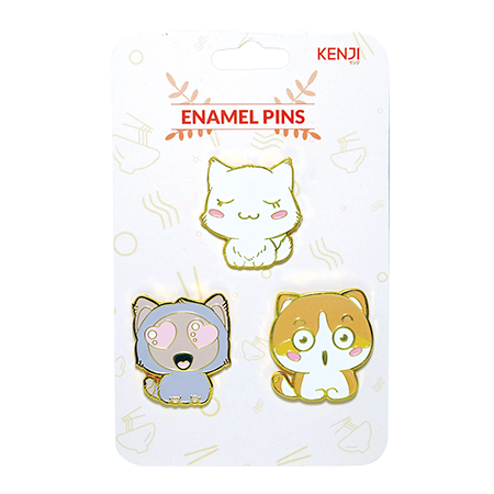 Metal Pin Badge 3pcs - Cat Queue