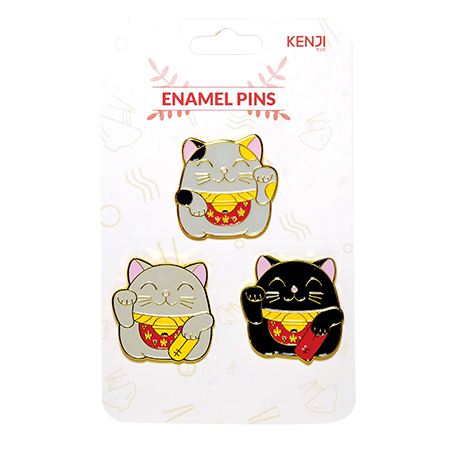 Metal Pin Badge 3pcs - Fortune Cat