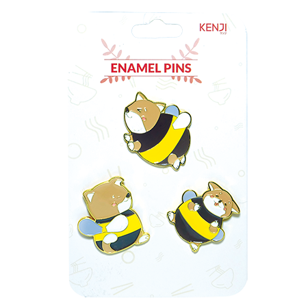 Metal Pin Badge 3pcs - Shiba Bee