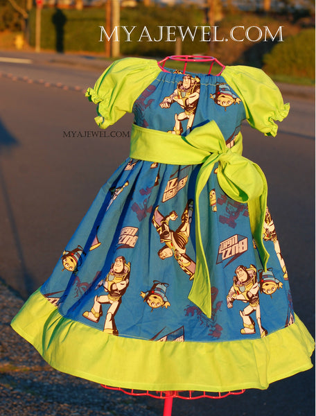 Ruffle Dress made with Buzz Lightyear / Toy Story Fabric and a removable Sash