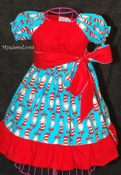 Dress made with Dr. Seuss / Cat in the Hat fabric