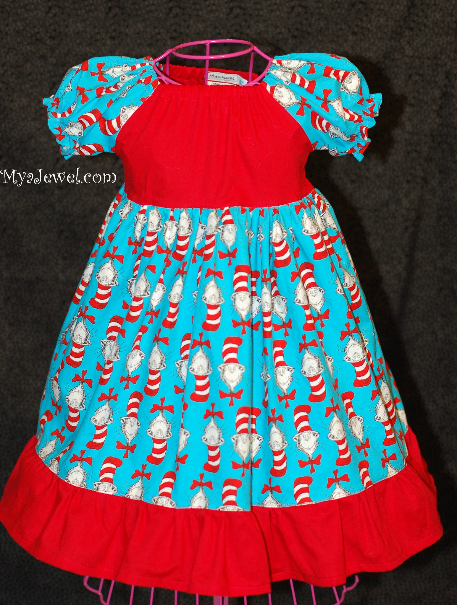 Dress made with Dr. Seuss / Cat In the Hat fabric (no Sash)