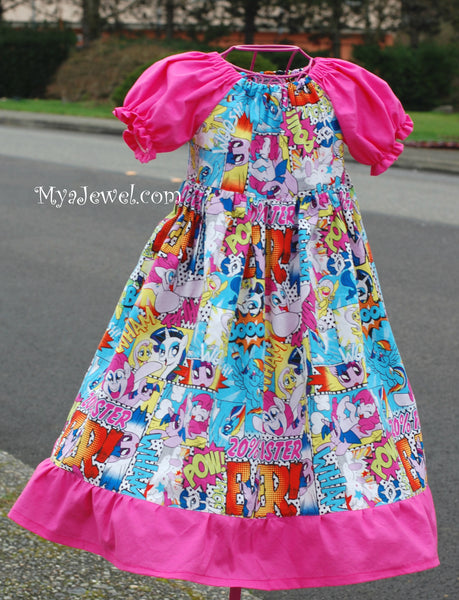 Dress made with My Little Pony / MLP fabric (no sash)