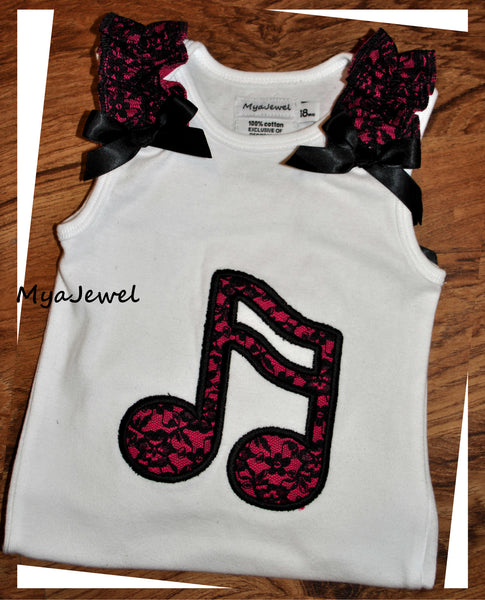 Music Note Top with Ruffles
