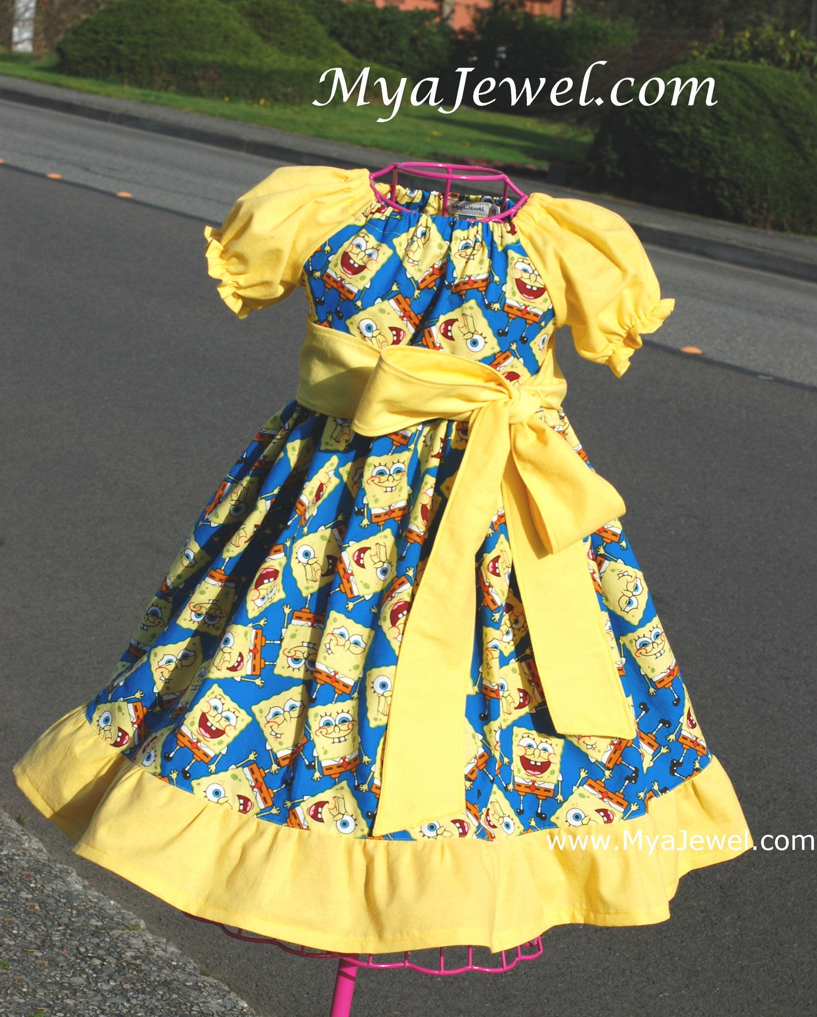 Ruffle Dress made with Spongebob Fabric with removable Sash