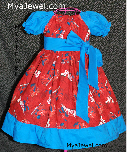 Ruffle Dress made with Spiderman Fabric and a removable Sash