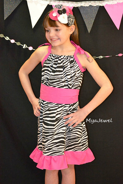 Zebra dress with sash and ruffle