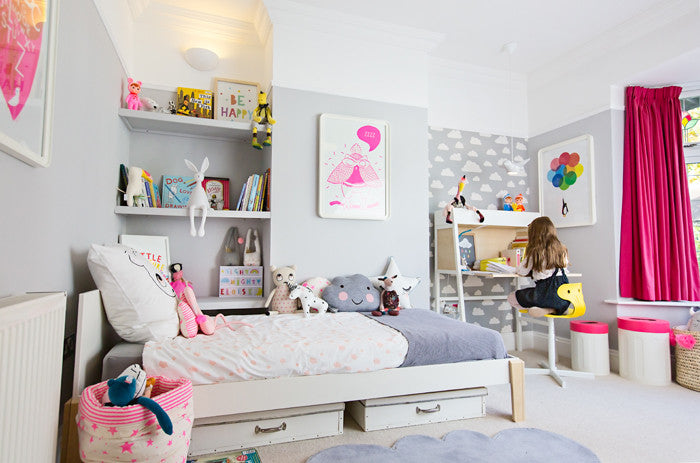 Grey and white, neon and bright children's room by Bobby Rabbit.