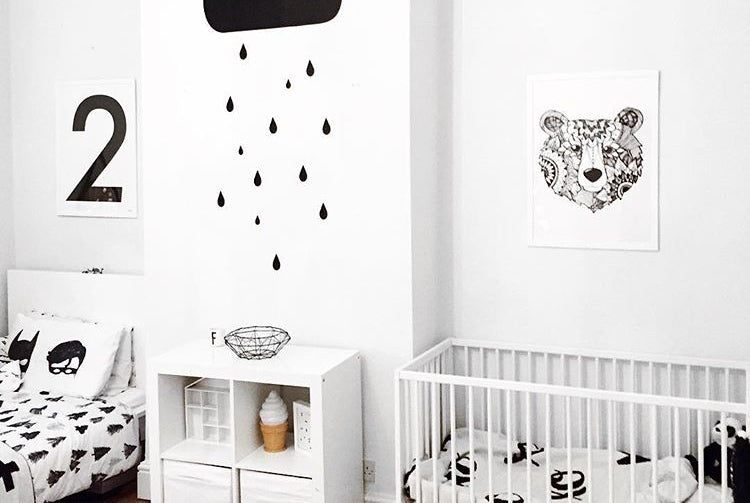 Monochrome Shared Bedroom styled by Being Mummy XO, featured on Bobby Rabbit