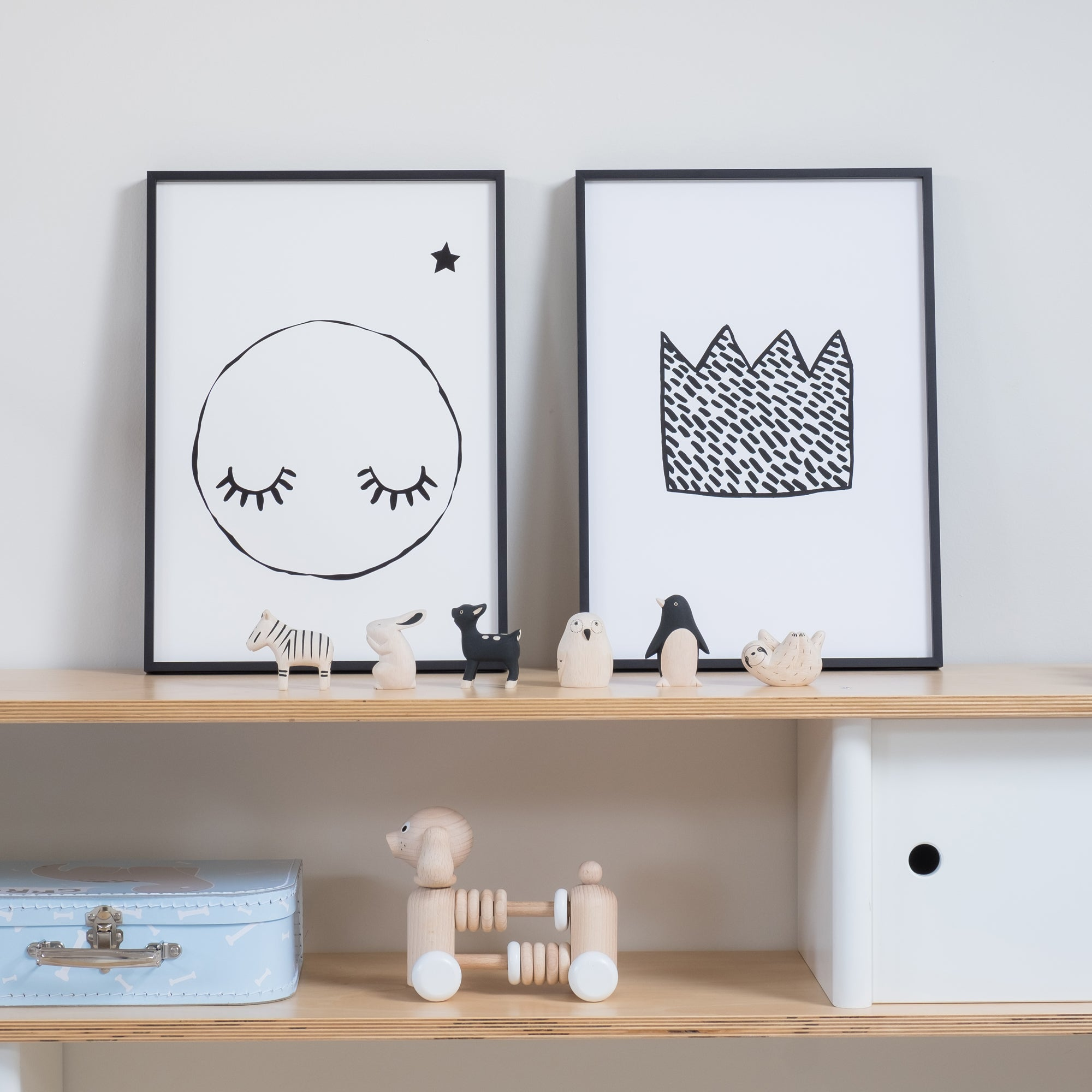 Pole-Pole Animals and A3 Prints by Rory and The Bean and Wonder and Rah, available at Bobby Rabbit.