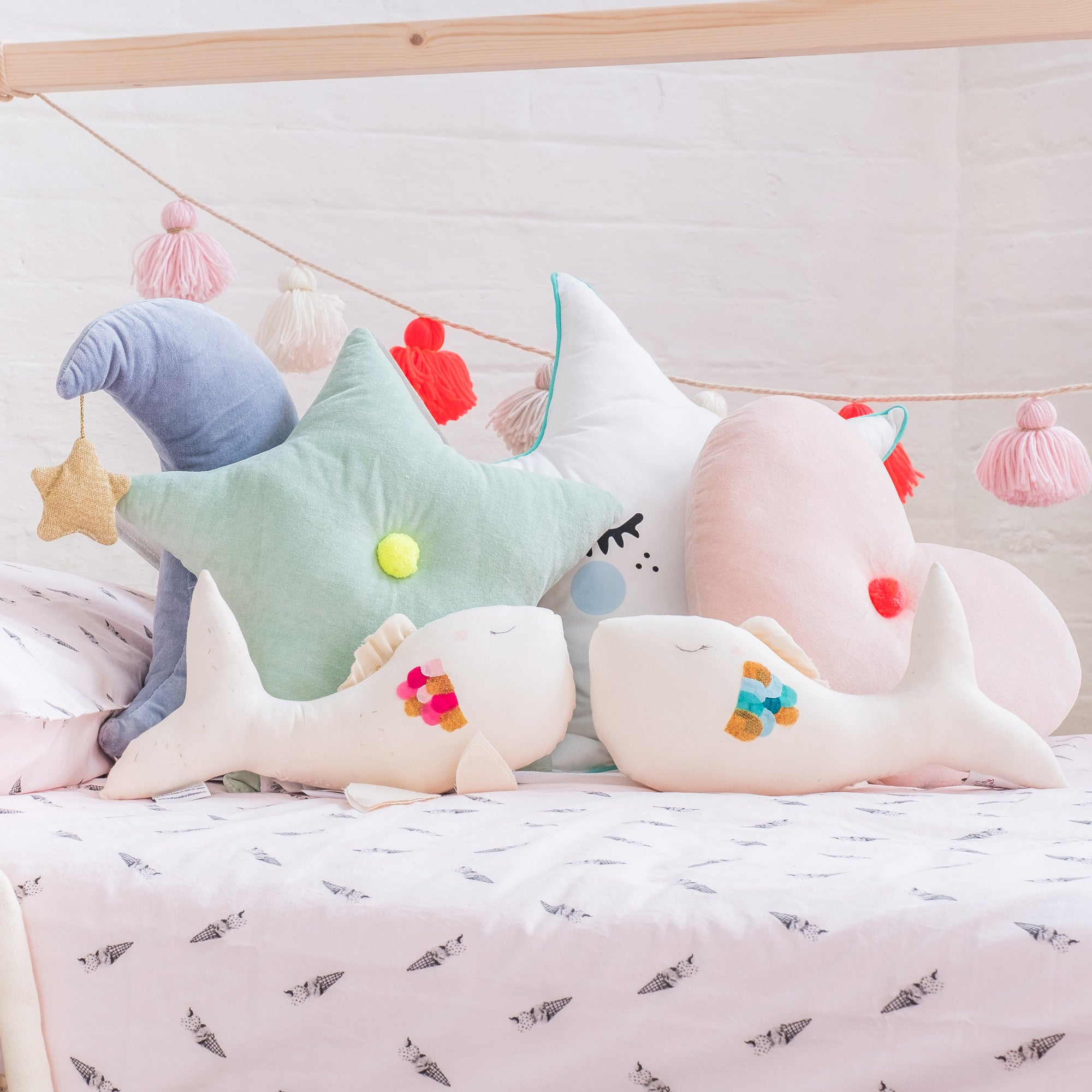 Cushions and accessories including Scalae fish, available at Bobby Rabbit.