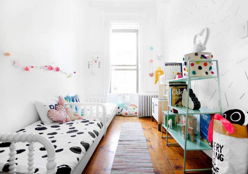 Shared girls' room by Anna Fritsch of Lucky Penny Blog, as featured on Bobby Rabbit.