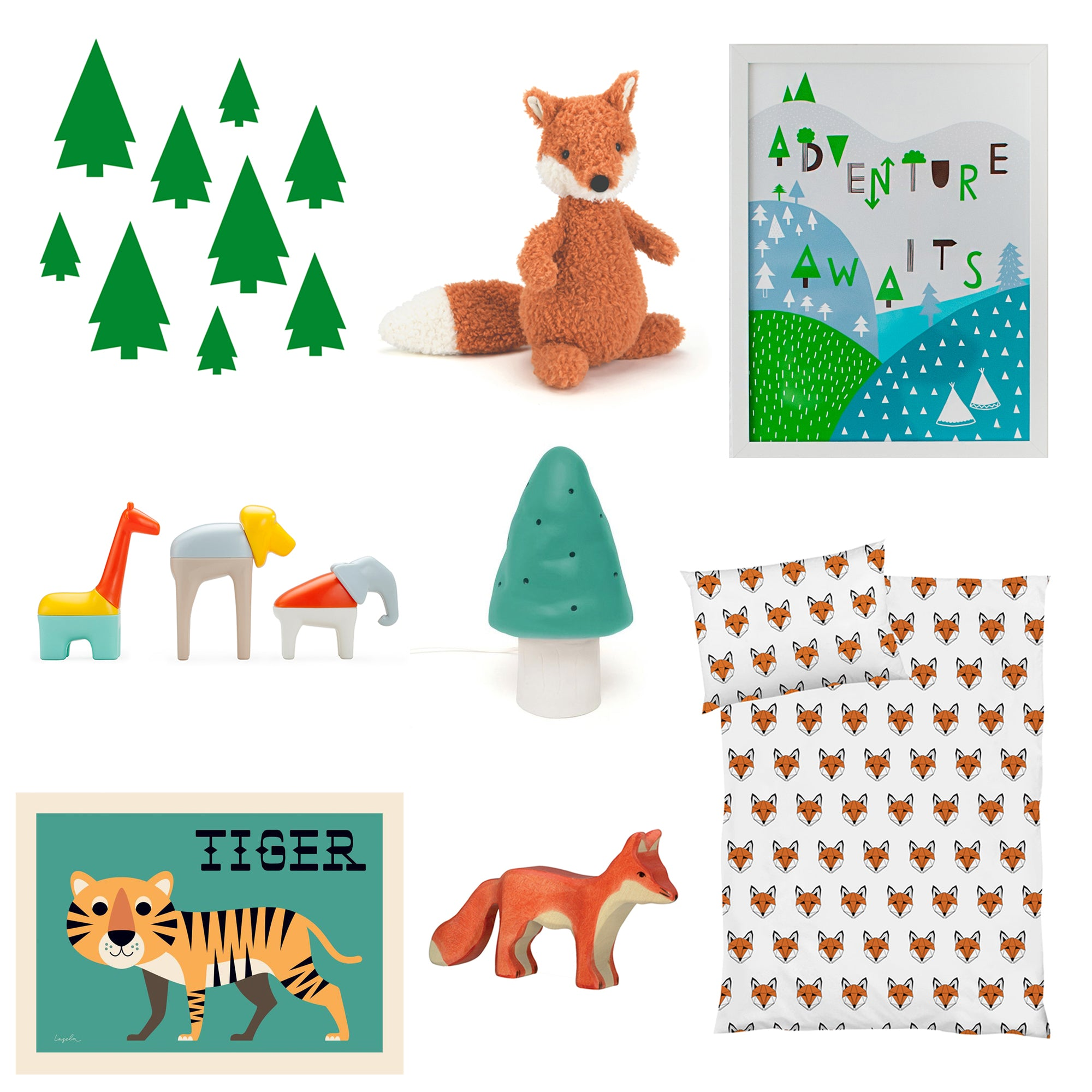 Fox and forest themed bedroom, all products available at Bobby Rabbit