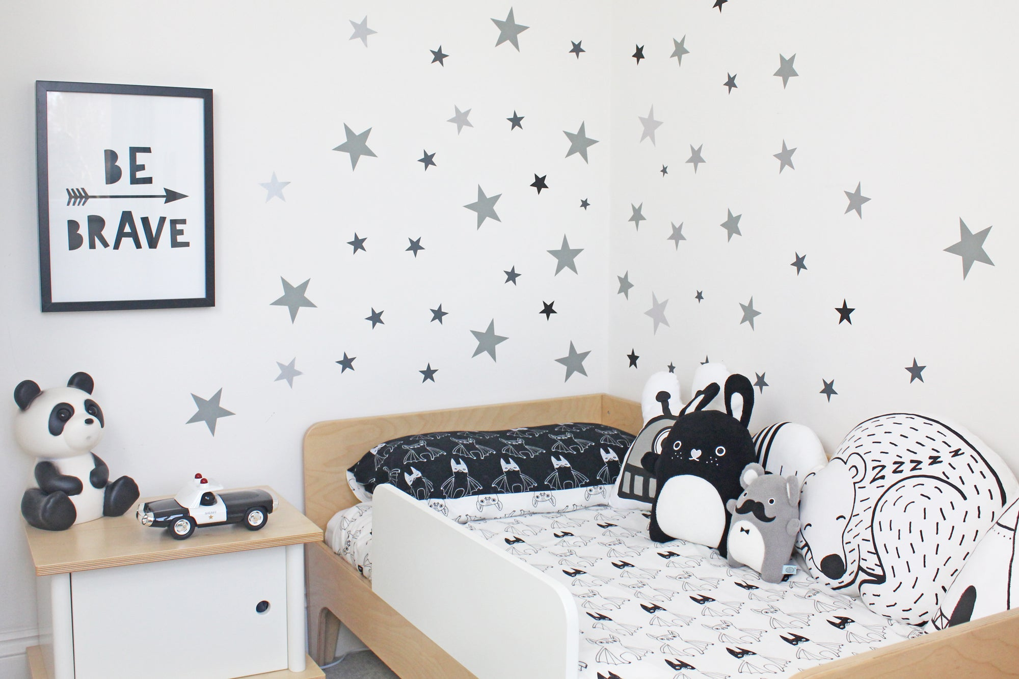 Monochrome boy's bedroom, styled by Bobby Rabbit.