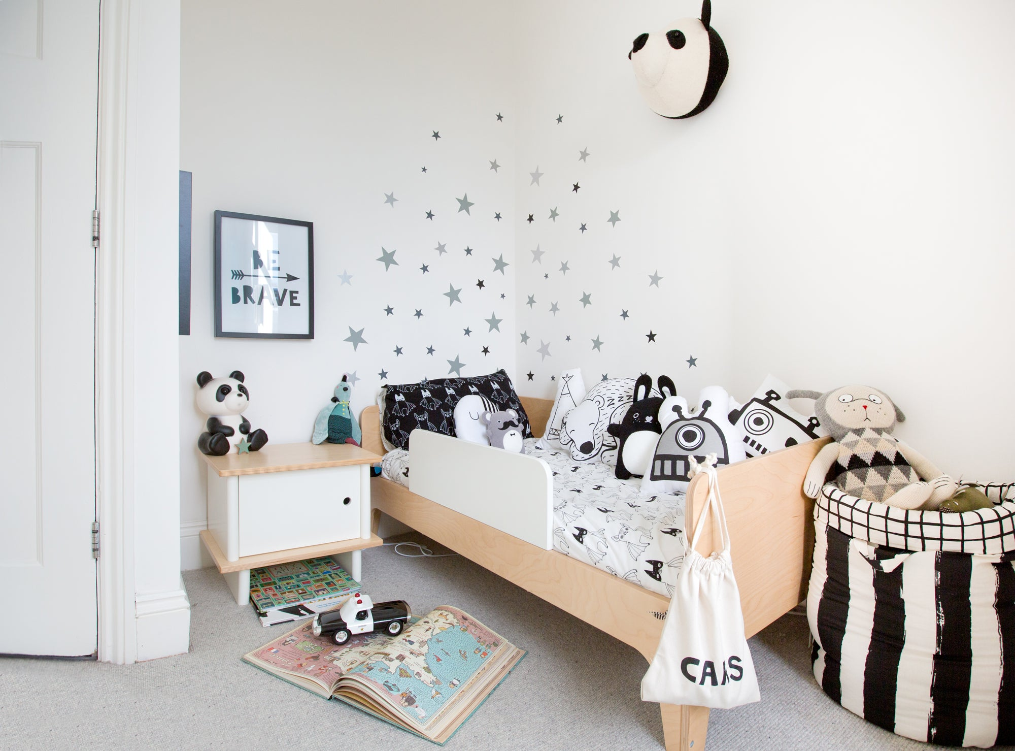 Monochrome boy's room, styled by Bobby Rabbit.