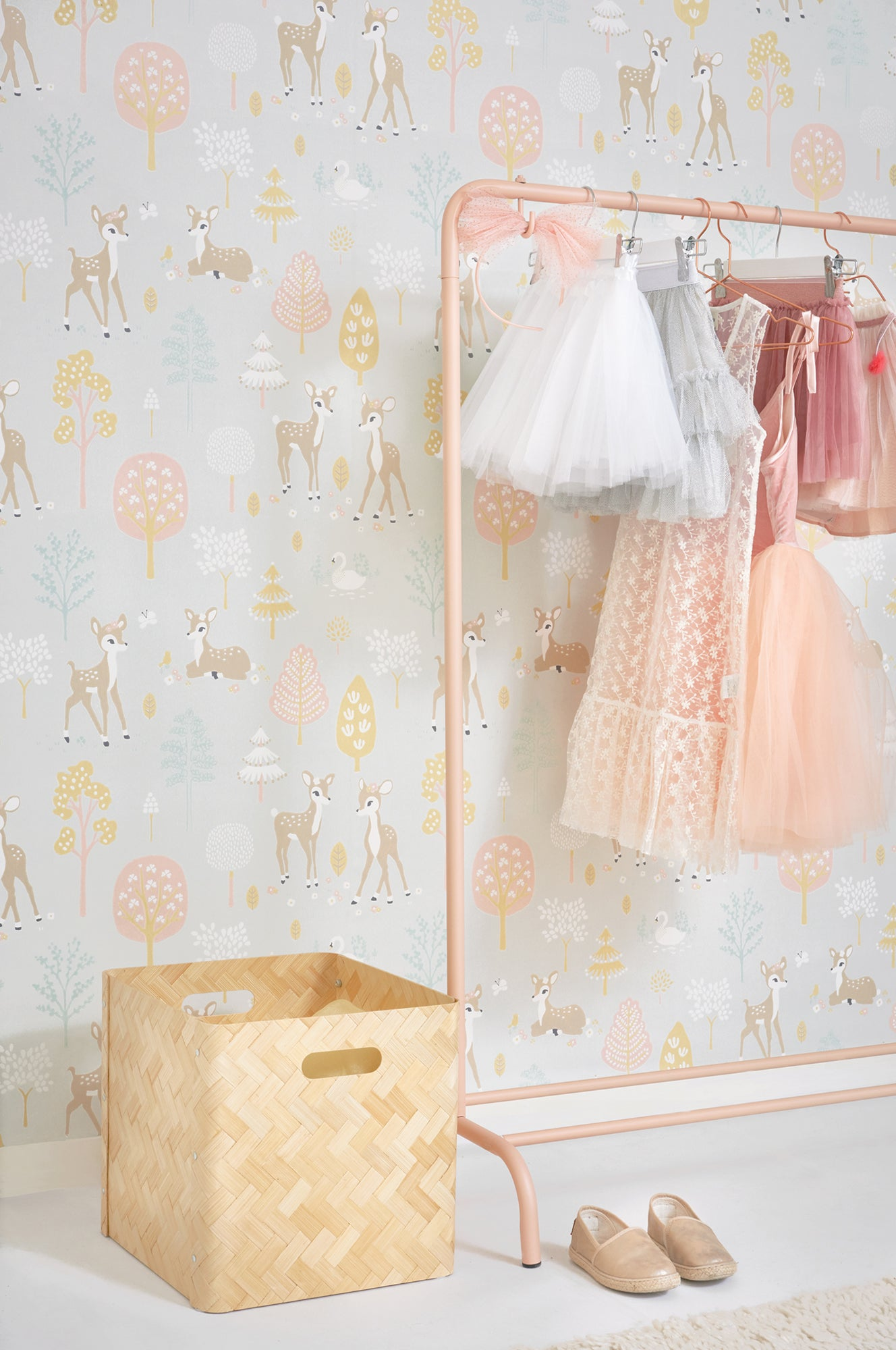Majvillan children's wallpaper 'Golden Woods', available at Bobby Rabbit.