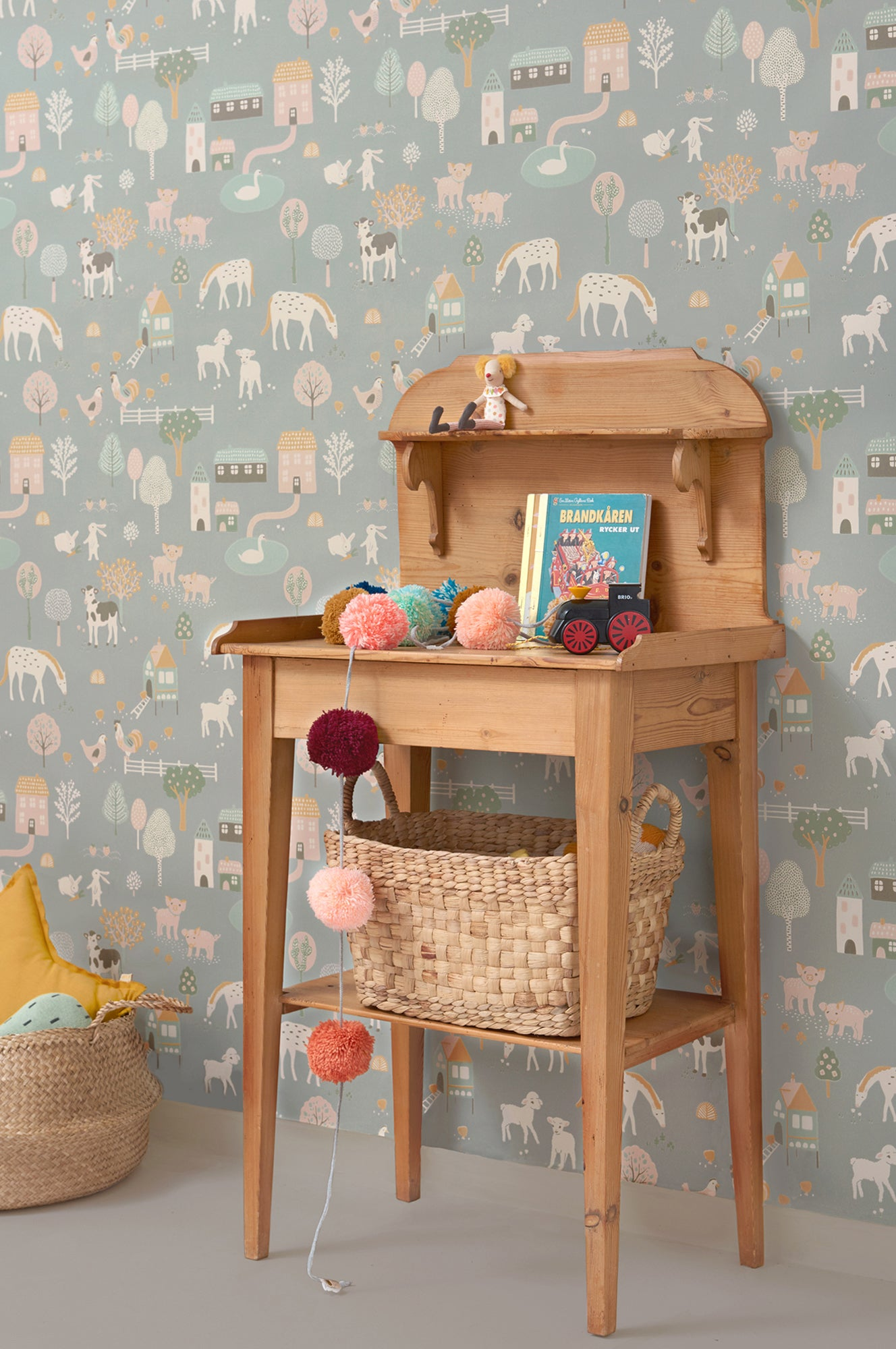 Majvillan children's wallpaper 'My Farm', available at Bobby Rabbit.