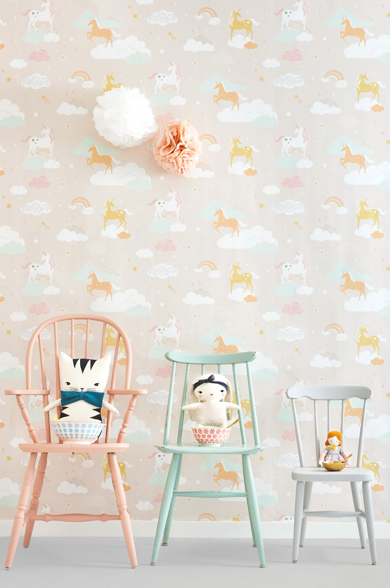 Majvillan children's wallpaper 'Rainbow Treasures', available at Bobby Rabbit.