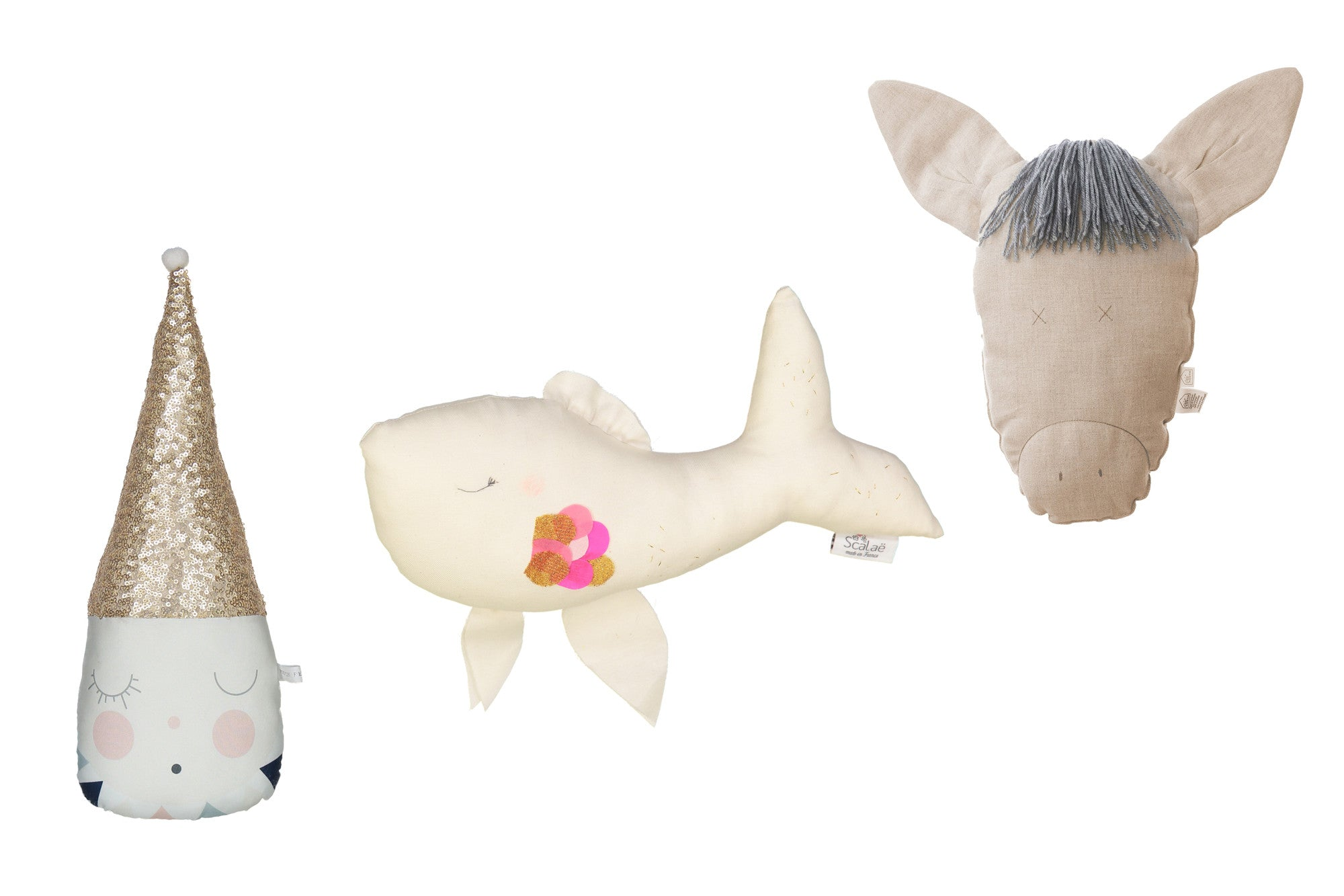Pompon Petillant Clown, Scalae Fish, Petit Picotin Jeanne Donkey, available at Bobby Rabbit.