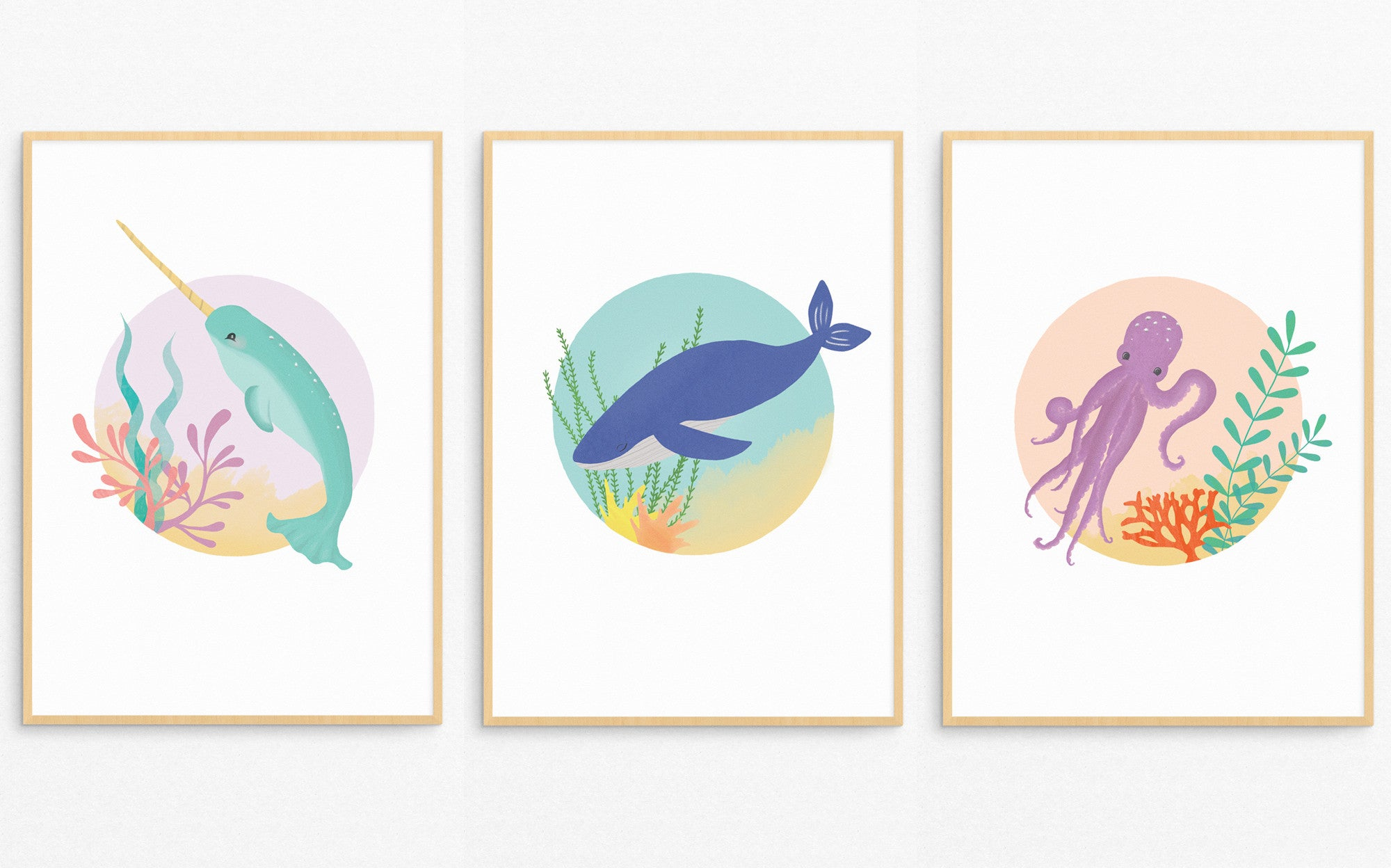 Narwhal, Whale and Octopus sea-themed prints by Born Lucky for Bobby Rabbit.