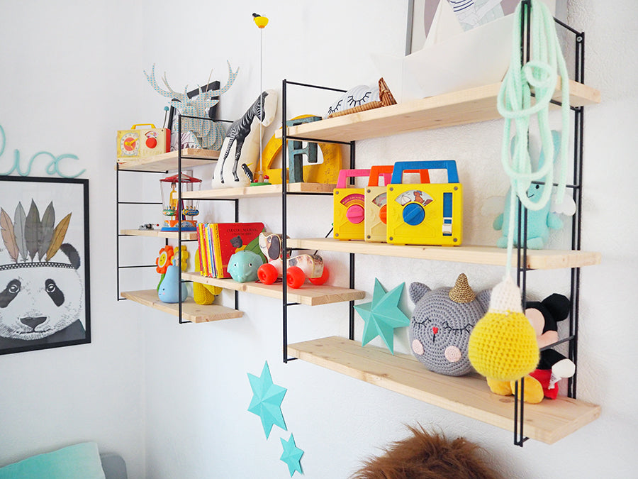 Felix and Charlie's multi-coloured shared bedroom, styled by Studio Des Jolis Momes