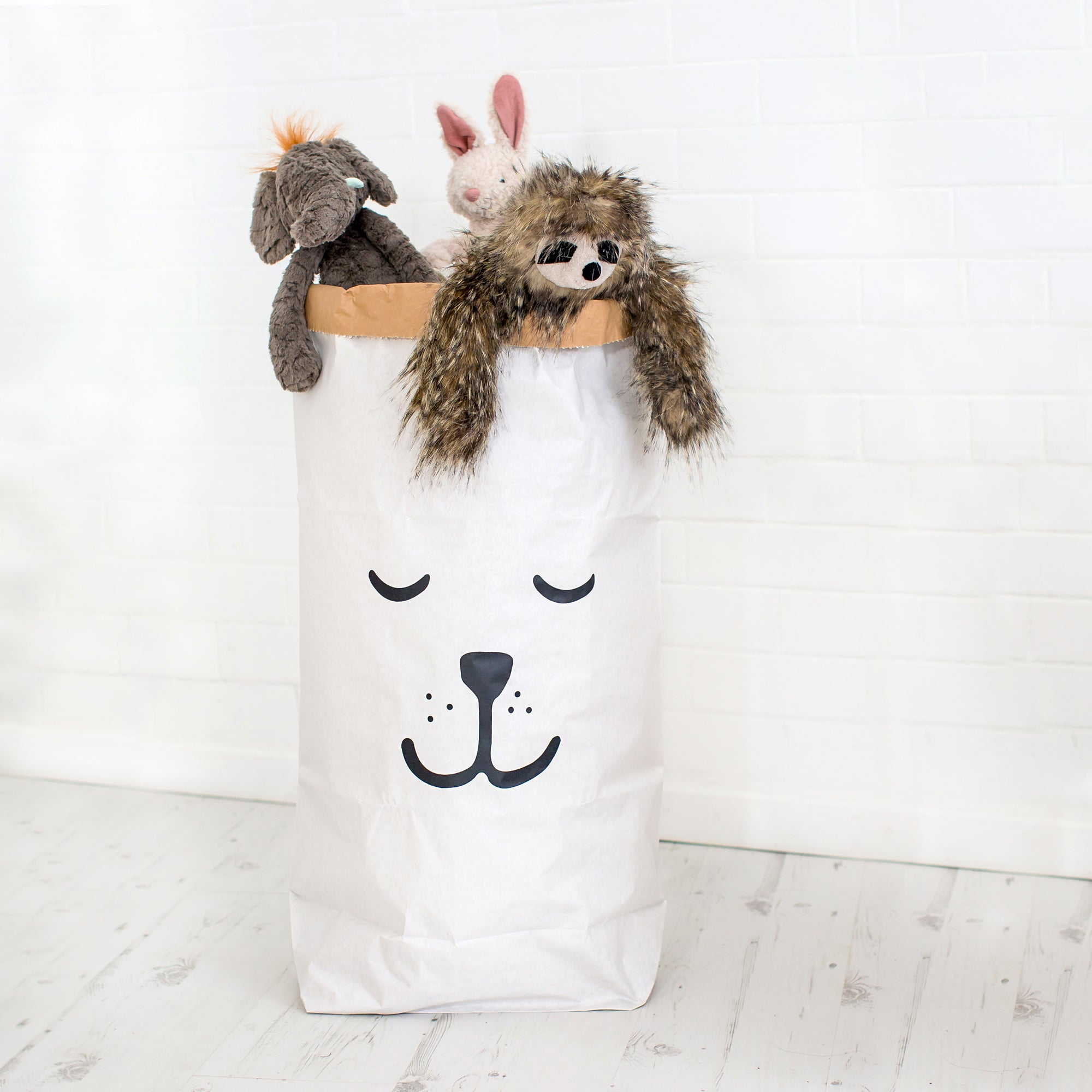 Sleeping Bear toy storage bag by Tellkiddo, available at Bobby Rabbit.