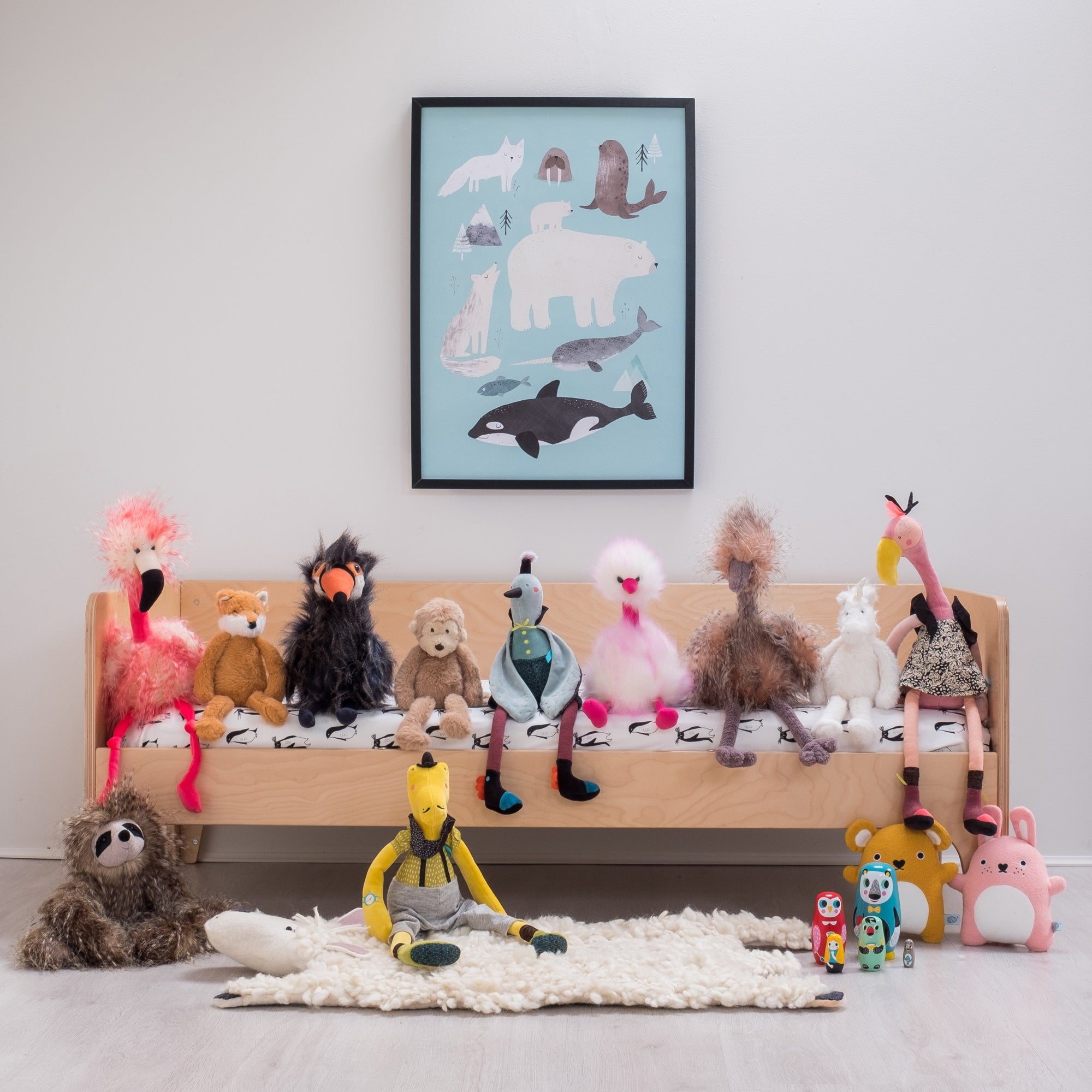 Oeuf NYC Toddler Bed and Toys, styled by Bobby Rabbit.