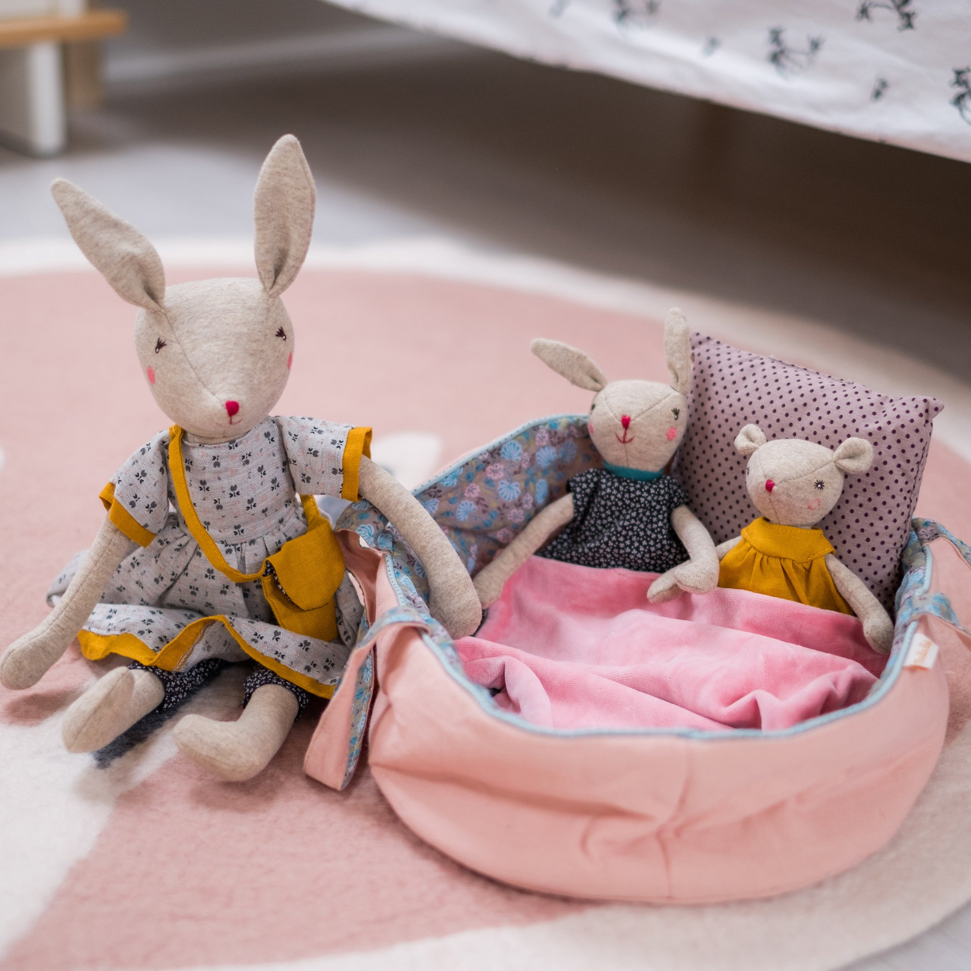 Moulin Roty Mirabelle Soft Toy Family, available at Bobby Rabbit.