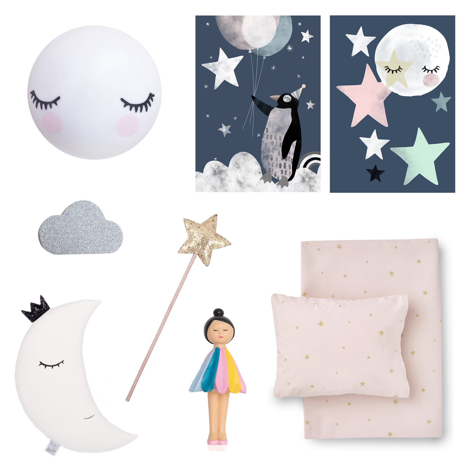 Space-themed girls room decor, available at Bobby Rabbit.