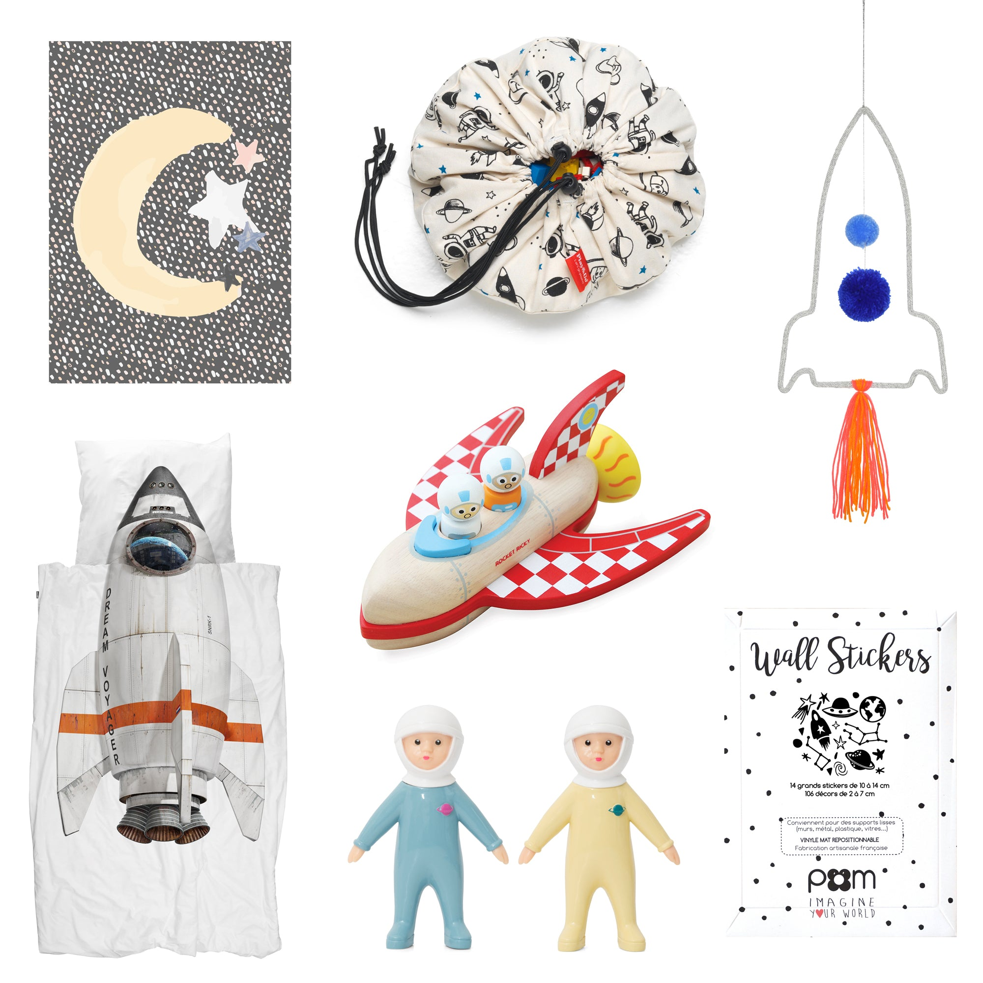 Space-themed children's room decor, available at Bobby Rabbit.