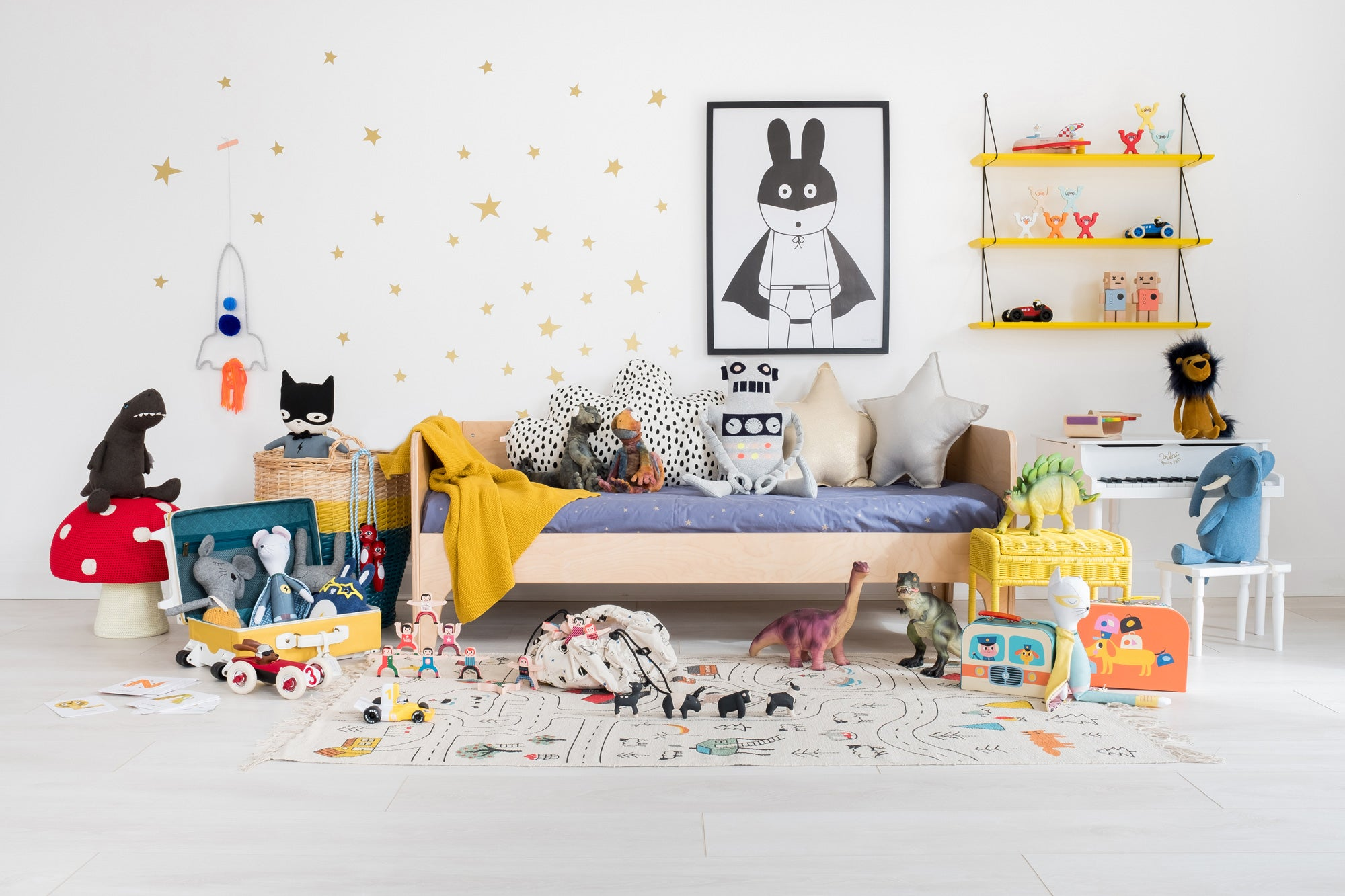 Spaceships and Superheroes Children's Room, styled by Bobby Rabbit.