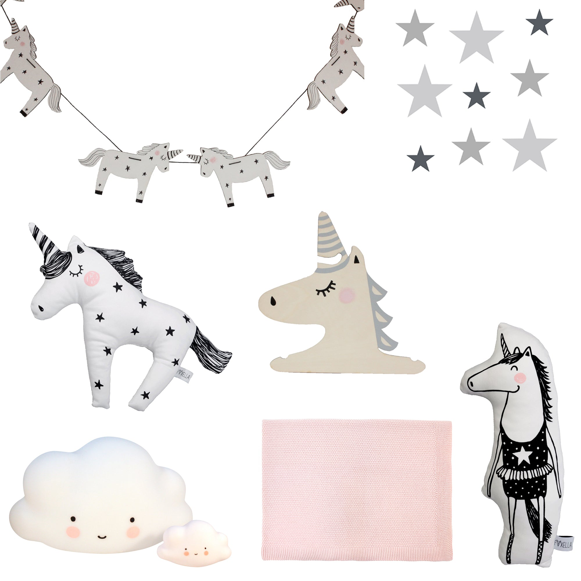 Stardust and Unicorns inspiration board by Bobby Rabbit.