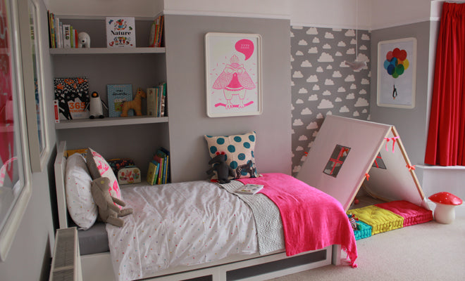 Grey and white neon and bright for 7 year old bedroom ideas
