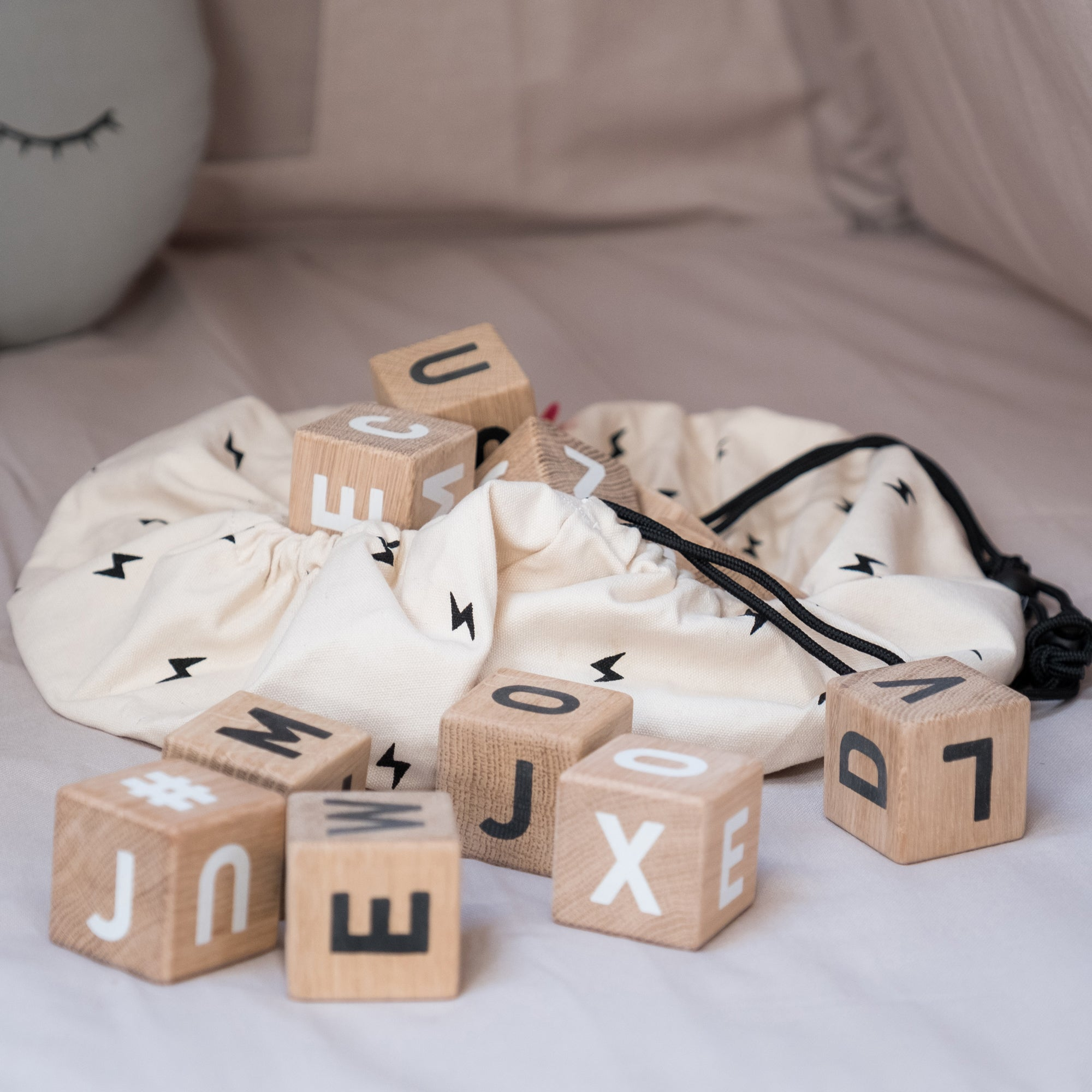 Word Cubes and Play & Go Mini Storage Bag, available at Bobby Rabbit.