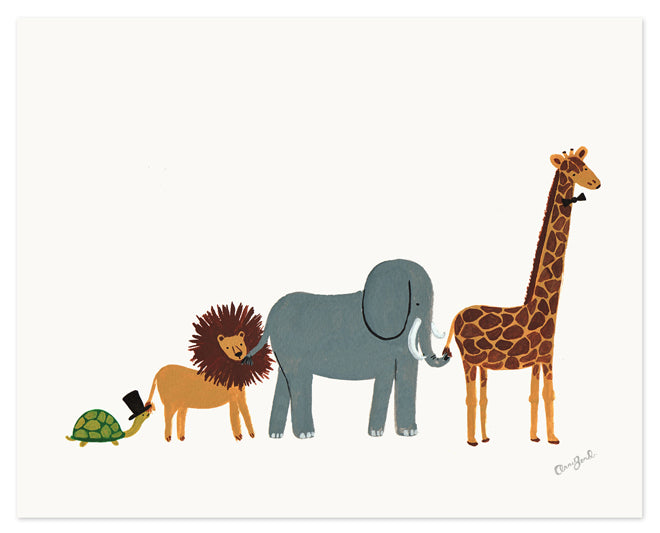 on the wall, wall art, children's wall art, animal wall art, animal parade print, Rifle Paper Co, A Neat Little Shop, published by Bobby Rabbit