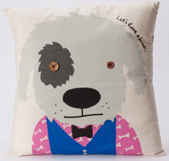 textiles, cushions, children's cushions, animal cushions, dog cushion, Bobby Dazzler, A Neat Little Shop, published by Bobby Rabbit