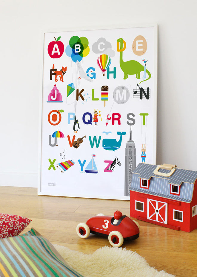 wall art, children's wall art, wall art prints, ABC wall art, alphabet wall art, Showler and Showler, published by Bobby Rabbit