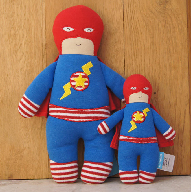 Albetta Superhero soft toy and baby rattle, published by Bobby Rabbit