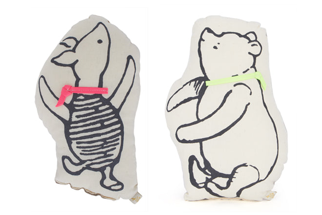 Winnie the Pooh and Piglet cushions for children's rooms, designed and made in Brooklyn by Atsuyo Et Akiko, published by Bobby Rabbit