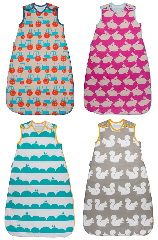 Baby sleeping bags by Grobag, design by Anorak, published by Bobby Rabbit