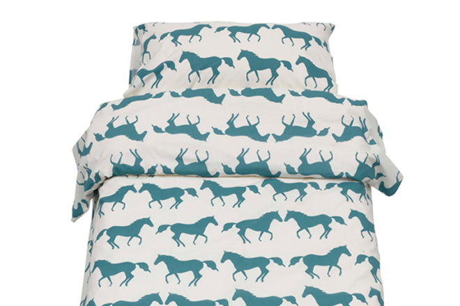 textiles, bed linen, children's bedding, horse bed linen, Anorak bed linen, published by Bobby Rabbit