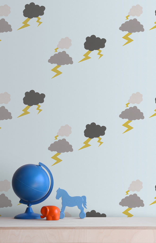 Baines & Fricker 'Thunderclouds' Wallpaper, published by Bobby Rabbit