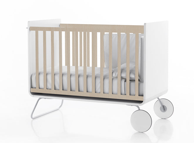 furniture, children's furniture, children's bedroom furniture, cots, white and natural wood cot, BE cot, Bebemoda, published by Bobby Rabbit