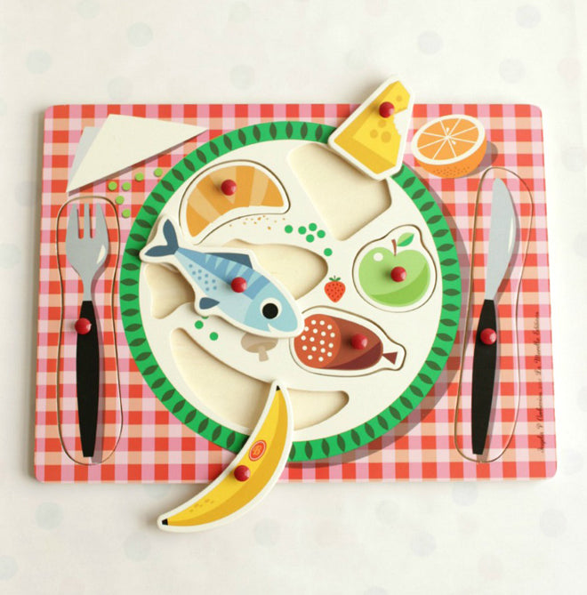 'Bon Appetit' wooden food puzzle toy, designed by Ingela P. Arrhenius and available from Bimbily, published by Bobby Rabbit