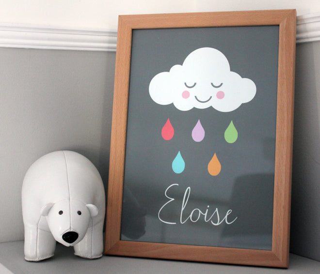 Happy Rain Cloud personalised prints by Bluebell Illustrations