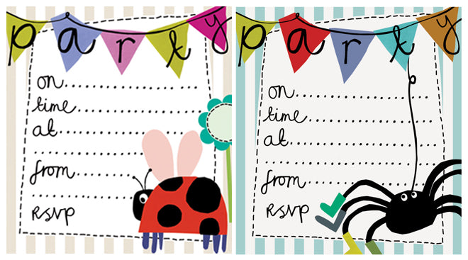 party, stationery, party invitations, children's party invites, Caroline Gardner party invitations, published by Bobby Rabbit